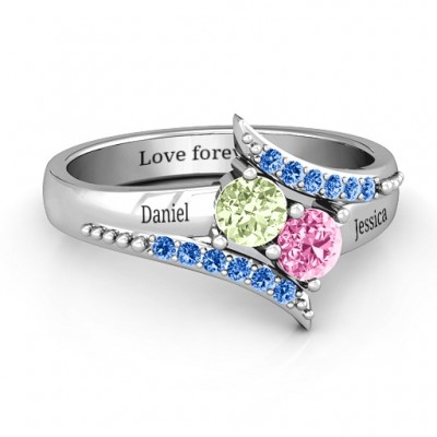 Diagonal Dream Personalised Ring With Round Stones  - AMAZINGNECKLACE.COM