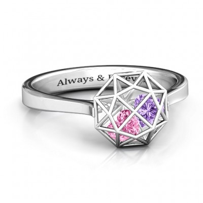 Diamond Cage Personalised Ring with Encased Heart Stones  - AMAZINGNECKLACE.COM
