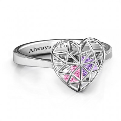 Diamond Heart Cage Personalised Ring With Encased Heart Stones  - AMAZINGNECKLACE.COM