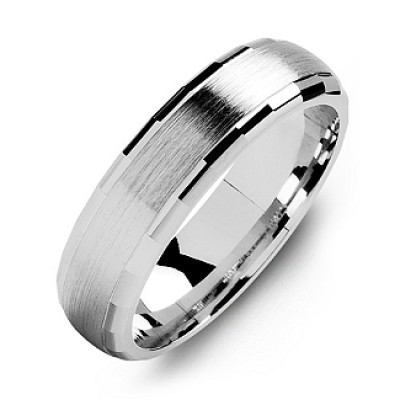 Dome-Shaped Brushed Men's Personalised Ring with Baguette Edges - AMAZINGNECKLACE.COM