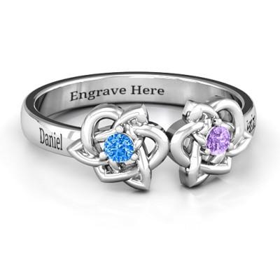Double Celtic Gemstone Personalised Ring  - AMAZINGNECKLACE.COM