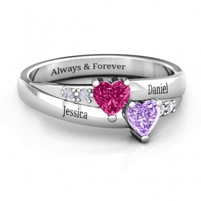 Double Heart Gemstone Personalised Ring with Accents  - AMAZINGNECKLACE.COM