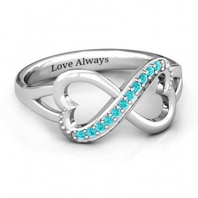 Double Heart Infinity Personalised Ring with Accents - AMAZINGNECKLACE.COM
