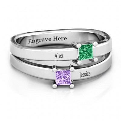 Double Princess Cut Personalised Ring - AMAZINGNECKLACE.COM