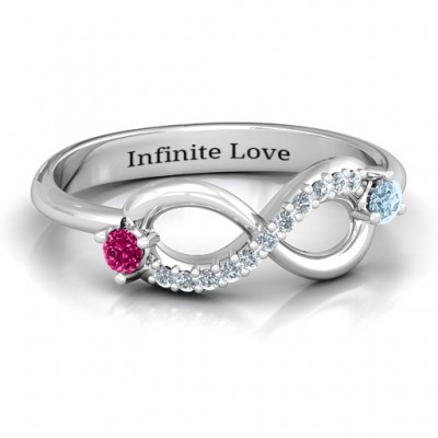 Double Stone Infinity Accent Personalised Ring  - AMAZINGNECKLACE.COM