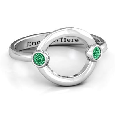 Double Stone Karma Personalised Ring  - AMAZINGNECKLACE.COM