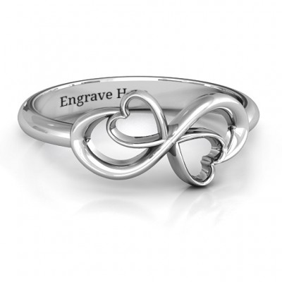 Duo of Hearts Infinity Personalised Ring - AMAZINGNECKLACE.COM