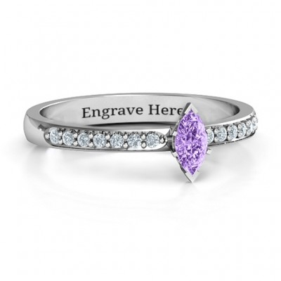 Elegant Marquise with Accent Band Personalised Ring - AMAZINGNECKLACE.COM