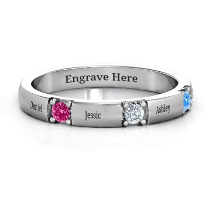 Elegant Three Gemstone Personalised Ring  - AMAZINGNECKLACE.COM