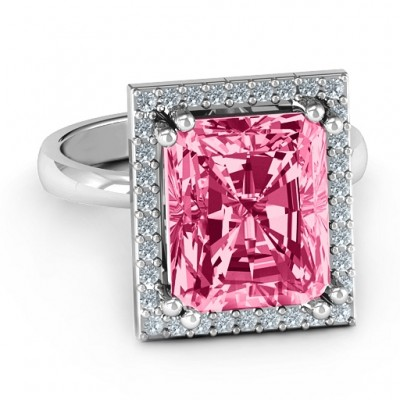 Emerald Cut Statement Personalised Ring with Halo - AMAZINGNECKLACE.COM