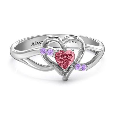 Endless Romance Engravable Heart Personalised Ring - AMAZINGNECKLACE.COM