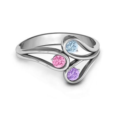 Eternal Elegance Three-Stone Personalised Ring  - AMAZINGNECKLACE.COM