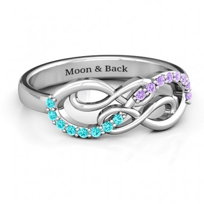 Everlasting Infinity Personalised Ring with Gemstones  - AMAZINGNECKLACE.COM