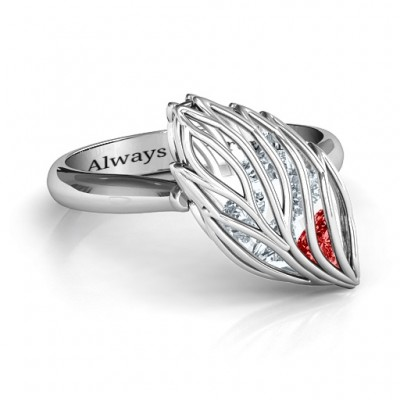 Exquisite Elm Cage Leaf Personalised Ring - AMAZINGNECKLACE.COM