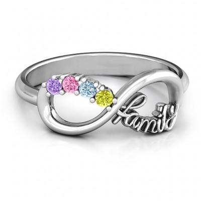Family Infinite Love with Stones Personalised Ring  - AMAZINGNECKLACE.COM