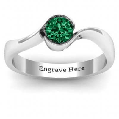 Fancy Solitaire Swirl Personalised Ring - AMAZINGNECKLACE.COM