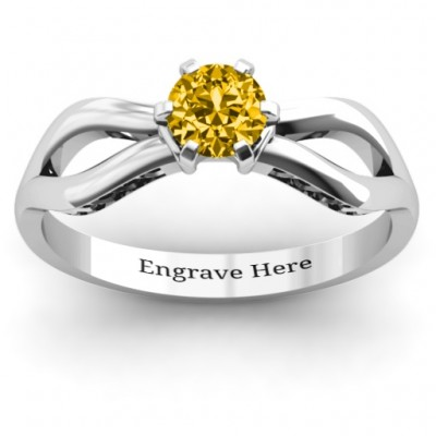 Fancy Split Shank Solitaire Personalised Ring - AMAZINGNECKLACE.COM