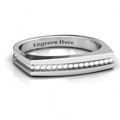 Fissure Beaded Groove Women's Personalised Ring - AMAZINGNECKLACE.COM