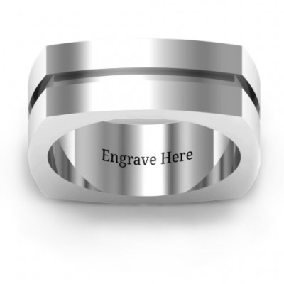 Fissure Grooved Square-shaped Men's Personalised Ring - AMAZINGNECKLACE.COM