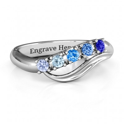 Five Stone Wave Personalised Ring  - AMAZINGNECKLACE.COM