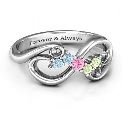 Flourish Infinity Personalised Ring with Gemstones  - AMAZINGNECKLACE.COM