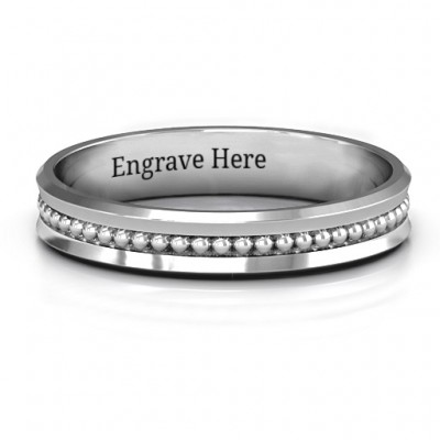Forge Beaded Groove Bevelled Women's Personalised Ring - AMAZINGNECKLACE.COM