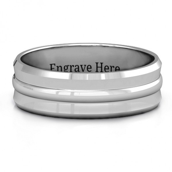 Forge Bevelled and Banded Men's Personalised Ring - AMAZINGNECKLACE.COM