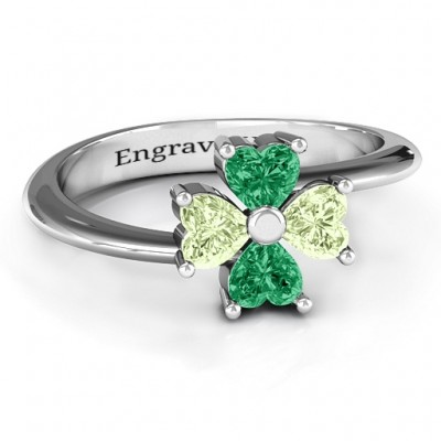 Four Heart Clover Personalised Ring - AMAZINGNECKLACE.COM
