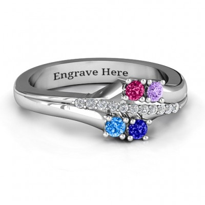 Four Stone Personalised Ring with Accents  - AMAZINGNECKLACE.COM