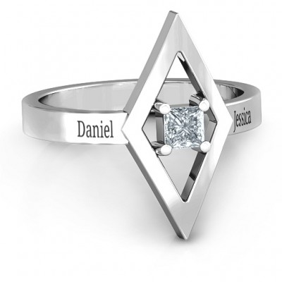 Glam Diamond Personalised Ring - AMAZINGNECKLACE.COM