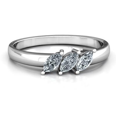 Grand Marquise Trio Personalised Ring - AMAZINGNECKLACE.COM