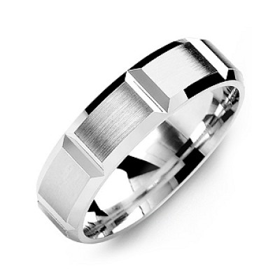 Grooved Men's Personalised Ring with Brushed Surface - AMAZINGNECKLACE.COM