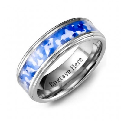 Grooved Tungsten Personalised Ring with Royal Blue Camouflage Insert - AMAZINGNECKLACE.COM