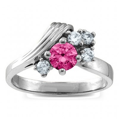 Grooved Wave 2-9 Gemstones Personalised Ring  - AMAZINGNECKLACE.COM