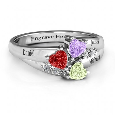 Heart Cluster Personalised Ring with Accents - AMAZINGNECKLACE.COM