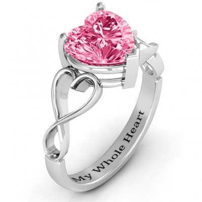 Heart Shaped Stone with Interwoven Heart Infinity Band Personalised Ring  - AMAZINGNECKLACE.COM