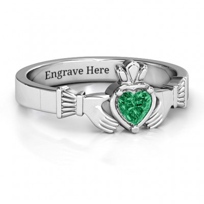 Heart Stone Claddagh Personalised Ring  - AMAZINGNECKLACE.COM
