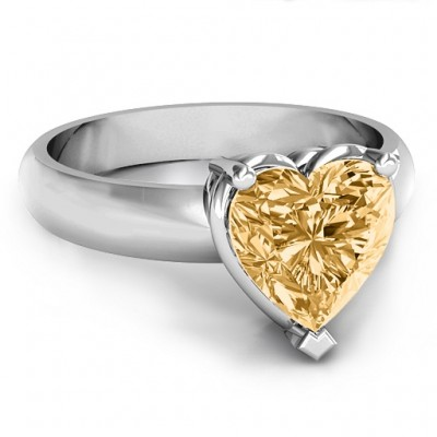 Heart Stone in a Double Gallery Setting Personalised Ring  - AMAZINGNECKLACE.COM