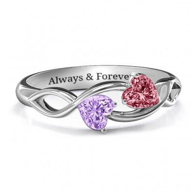 Heavenly Hearts Personalised Ring with Heart Gemstones  - AMAZINGNECKLACE.COM