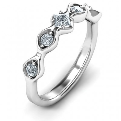 Infinite Wave with Princess Cut Centre Stone Personalised Ring  - AMAZINGNECKLACE.COM