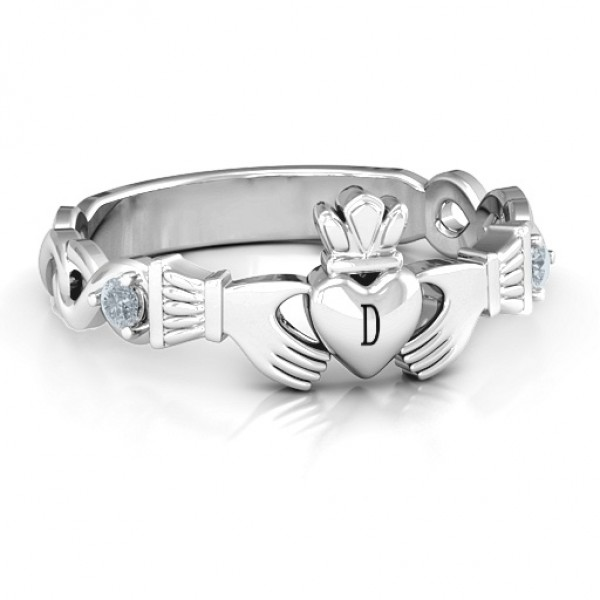 Infinity Claddagh With Side Stones Personalised Ring  - AMAZINGNECKLACE.COM