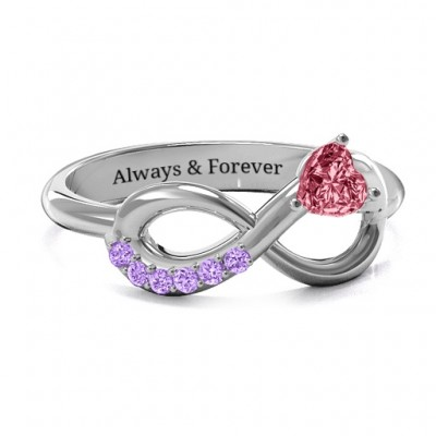 Infinity In Love Personalised Ring with Accents - AMAZINGNECKLACE.COM
