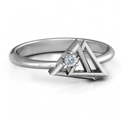 Interlocked Triangle Geometric Personalised Ring - AMAZINGNECKLACE.COM
