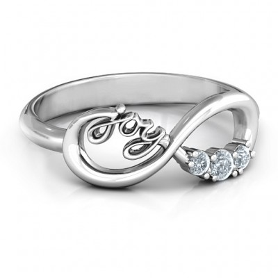 Joy Infinity Personalised Ring with 3 Stones  - AMAZINGNECKLACE.COM