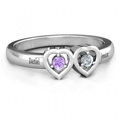 Kissing Hearts Personalised Ring - AMAZINGNECKLACE.COM