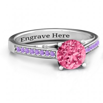 Large Round Solitaire Personalised Ring with Channel Set Accents - AMAZINGNECKLACE.COM