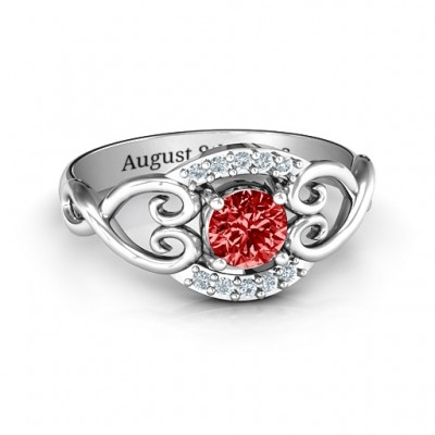 Lasting Love Promise Personalised Ring with Accents - AMAZINGNECKLACE.COM