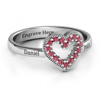 Love Story Heart Accent Personalised Ring - AMAZINGNECKLACE.COM