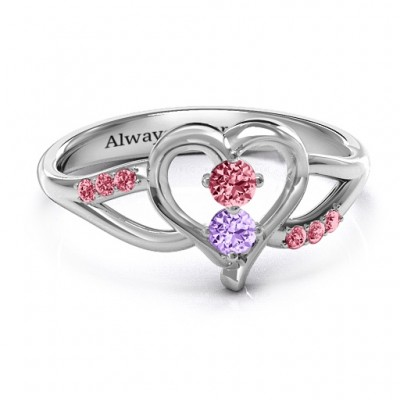 Magical Moments Two-Stone Personalised Ring  - AMAZINGNECKLACE.COM
