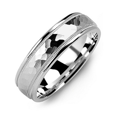 Matte Hammer-Cut Men's Personalised Ring with Milgrain Detail - AMAZINGNECKLACE.COM